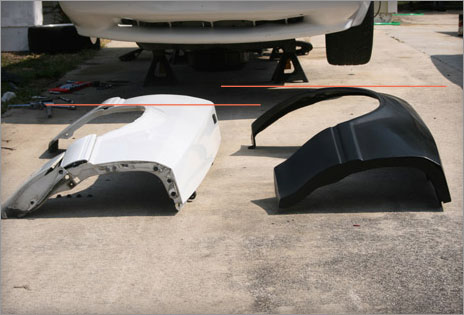 Maier Racing flared fenders for the fox bodied Mustang - size comparison