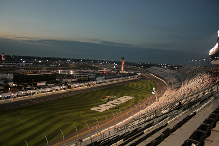 Daytona front straight at sunrise - Rolex 24 2012
