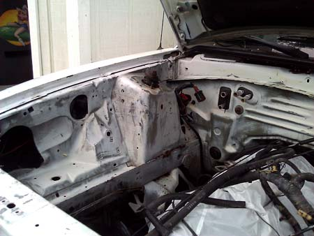 1994 Mustang Cobra restoration - engine compartment is prepped for paint