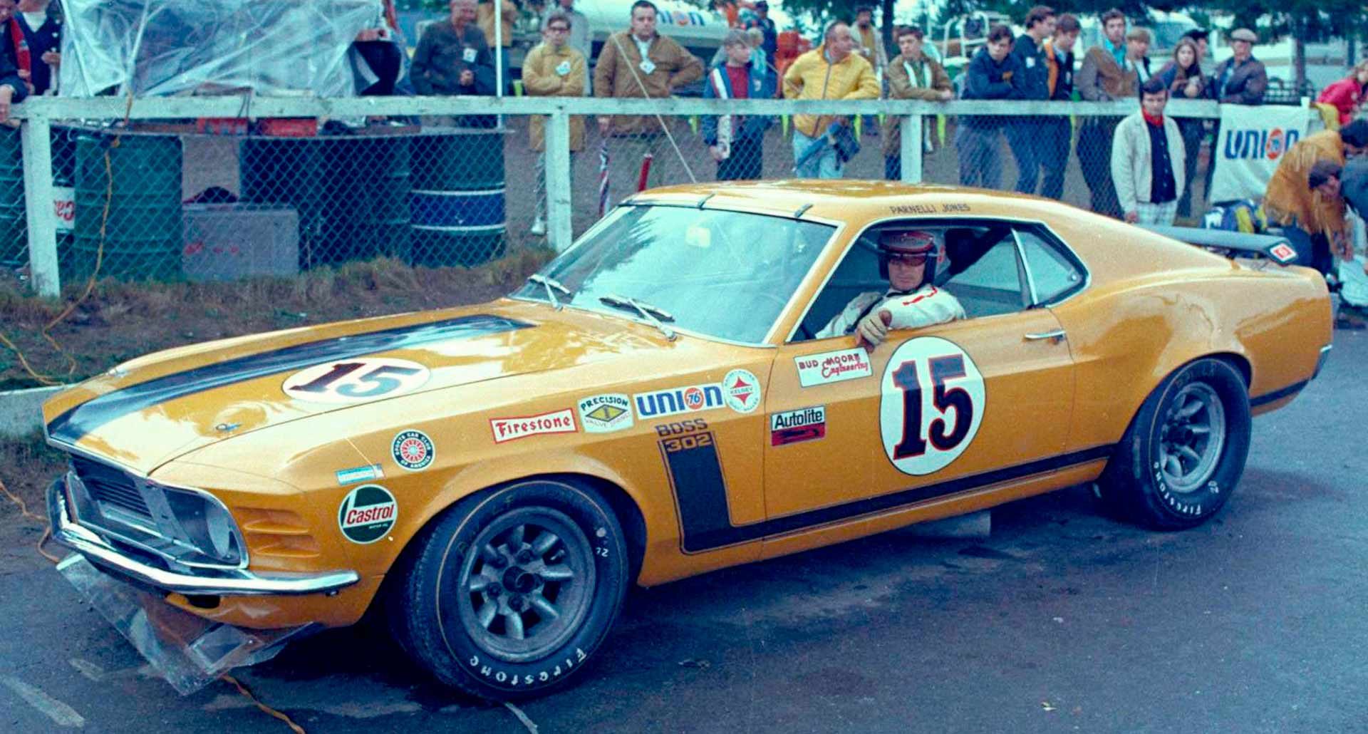Parnelli Jones is pictured here cir. 1970 with considerable confidence. The Boss 302 Mustang was winning, and Jones was more than a little responsible.